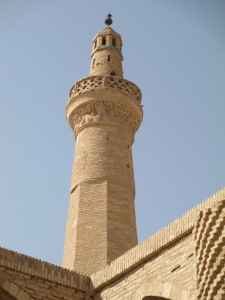 The 28m high octagonal minaret